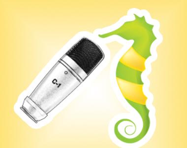 bild på microfon och sjöhäst